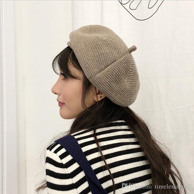 b347f0dbc64ce 2019 Japanese Style Thread Knitted Hat Women Beret Solid Beanie Stretchy  Flat Hat Stylish Trilby Caps Winter Warm Outdoor Hats Free Ship From  Timelesszeng2