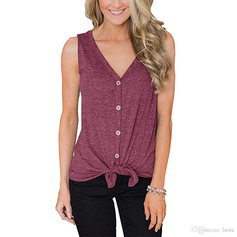3bbf654176 2019 Women Casual Blouses V Neck Tie Front Button Down Shirts Summer  Sleeveless Tank Tops Vest Solid Loose T Shirt From Luote, $7.03 | DHgate.Com