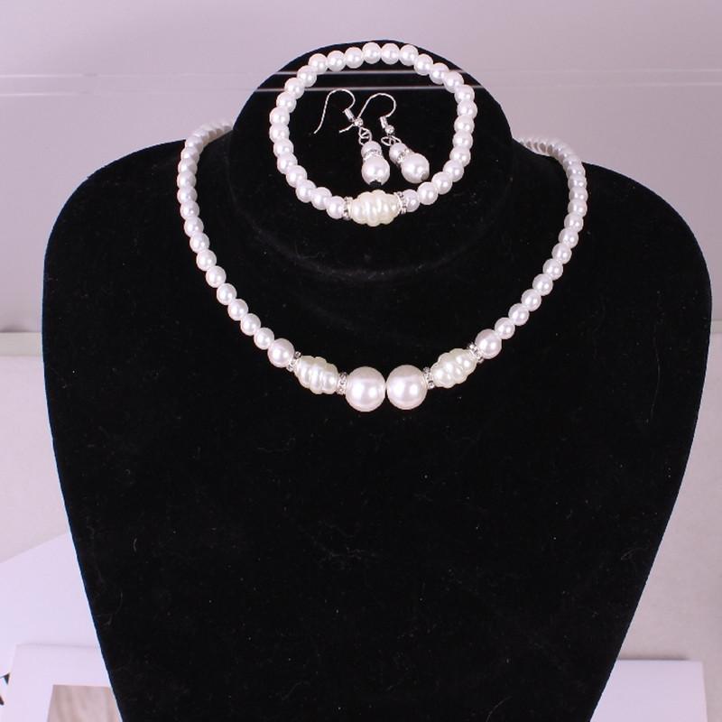 e23f75e541ef5d 2019 Fashion Hot Imitation Pearl Wedding Necklace Earring Bracelet Bridal  Jewelry Set For Women Elegant Party Gift Fashion Costume From Handofart, ...