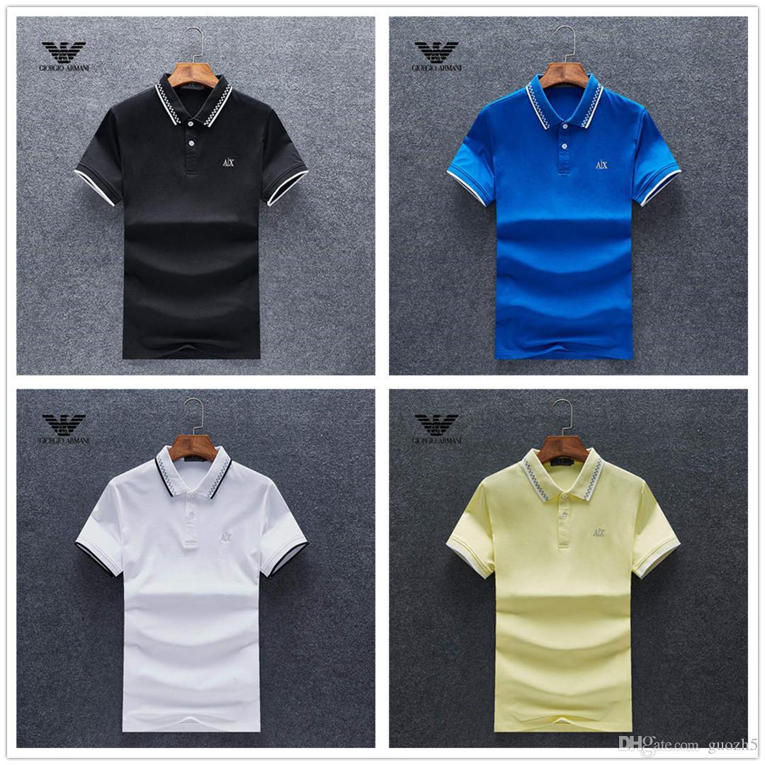 0433b00e5 Compre 18ss 2019 Luxurys Europa Paris Patchwork Homens Tshirt Moda Mens  Designers T Camisa Casual Roupas Masculinas Medusa Algodão Tee Luxurys Polo  De ...