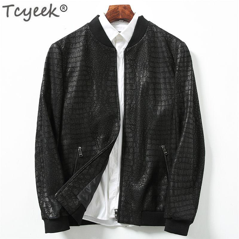 save off 8559b 479e3 Tcyeek primavera vera pelle uomo giacca vera pelle di pecora cappotto  coccodrillo modello breve outwear cappotto di lusso uomini Deri Ceppo  LWL1477