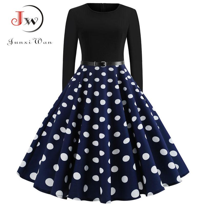 c829a1fb6350 2019 Black Winter Dress Women Polka Dot Patchwork Elegant Vintage Dress  Long Sleeve Big Swing Plus Size Party Dresses Casual Chrismas Y19012102  From ...