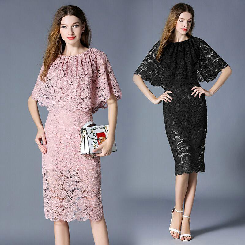 a7d1948ab7693 Satın Al Moda Dantel Elbise Ruffles Tasarım Kadınlar Elbise 2019 İlkbahar  Yaz Iş Ofis Elbiseler Parti Abiye, $23.99 | DHgate.Com'da