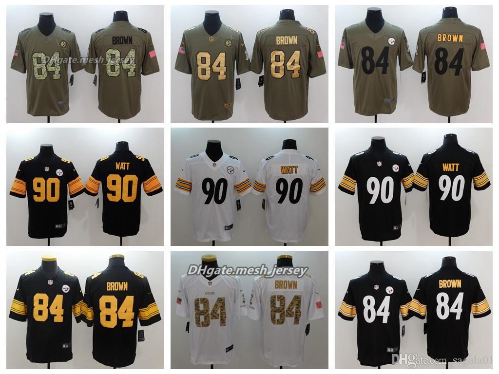 ea4637eb2 Compre 2018 Hombres Pittsburgh Jersey Steelers 90 T.J. Watt 84 Antonio  Brown Color Rush Jerseys De Costura De Fútbol Logotipo De Bordado A  21.32  Del ...