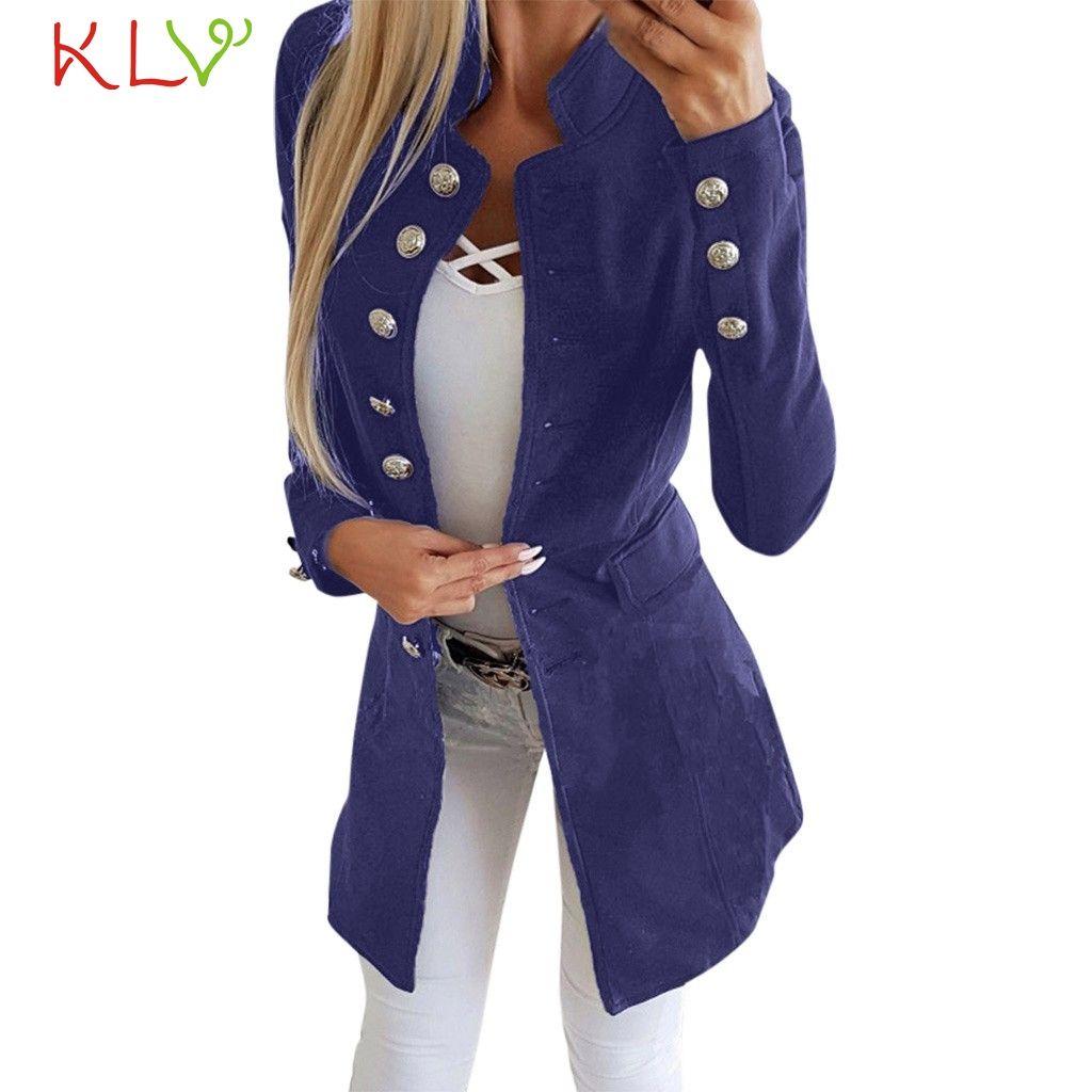 f8e67d0afa190 Acheter Femmes Veste D hiver Bureau Dame Revers Costume Long 2018 Bouton Manteau  Plus La Taille Mesdames Chamarra Cazadora Mujer Manteau Pour Les Filles ...