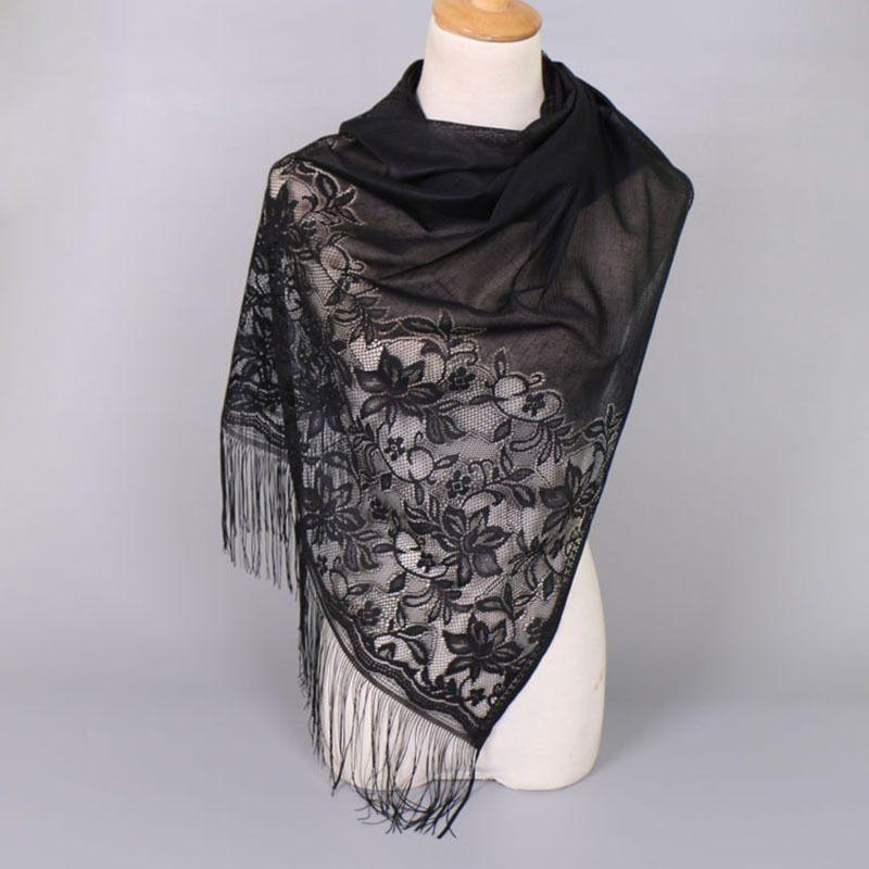 1937e39cb39 Elegant Plain Solid Foulard Women Lace Muffler Shawl Winter Wrap ...