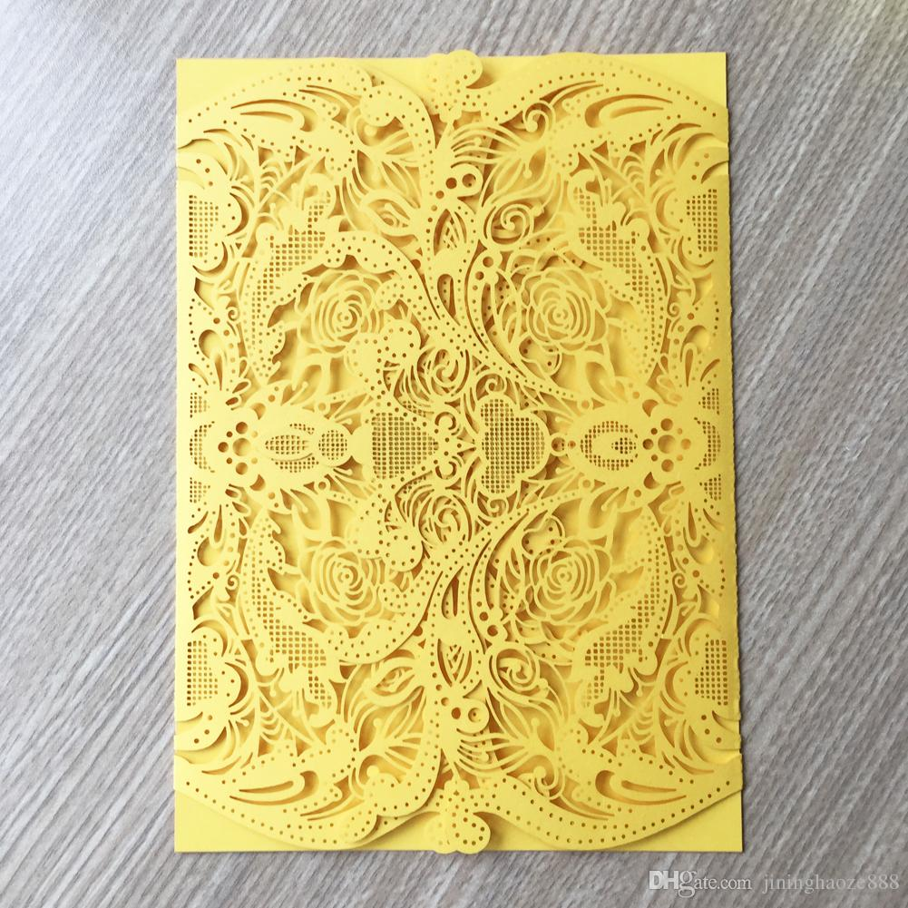 30pcs / lot Rose Pattern Wedding Invitation Cards Luxury Envelop Nature Style Engagements Retro Business Meeting Easter