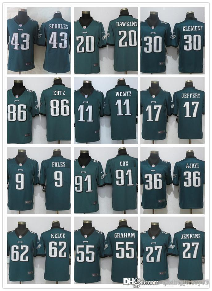 new arrival d1427 e4877 Philadelphia Eagles 06 Jersey 11 Carson Wentz 20 Dawkins Jeffery 9 Nick  Foles 86 Zach Ertz 88 Dallas Goedert 17 Jeffery Football Jerseys