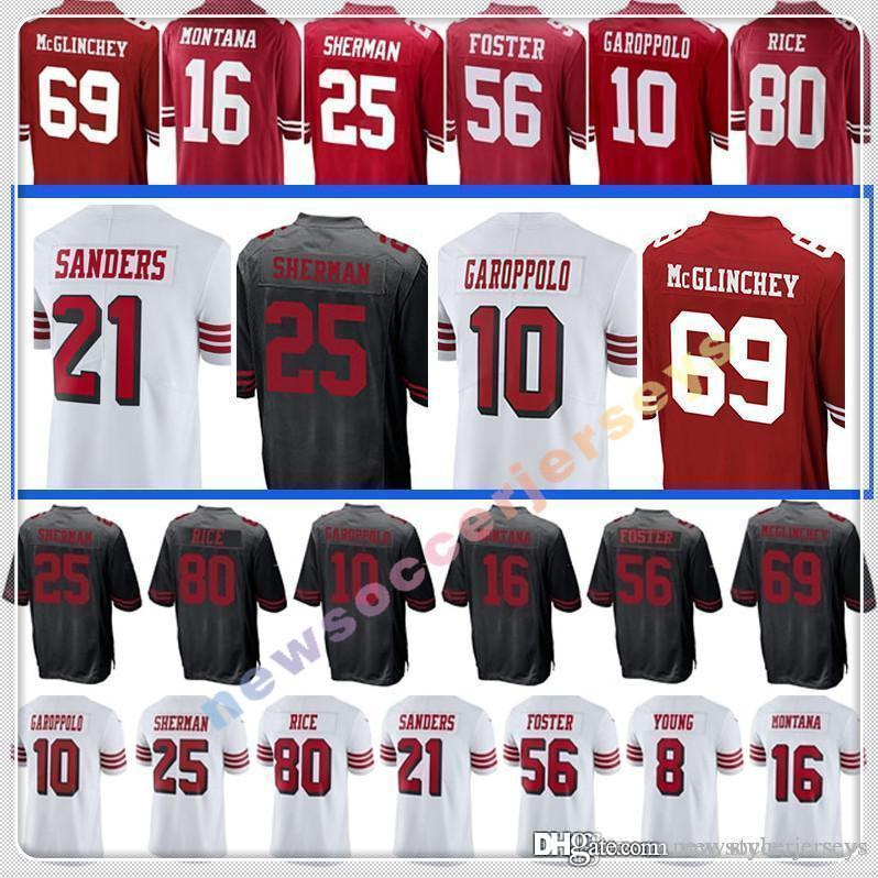 f6c33301686 2019 10 Jimmy Garoppolo San Francisco 49er 16 Joe Montana 25 Richard  Sherman 80 Jerry Rice 56 Reuben Foster 21 Deion Sanders From  New style jerseys