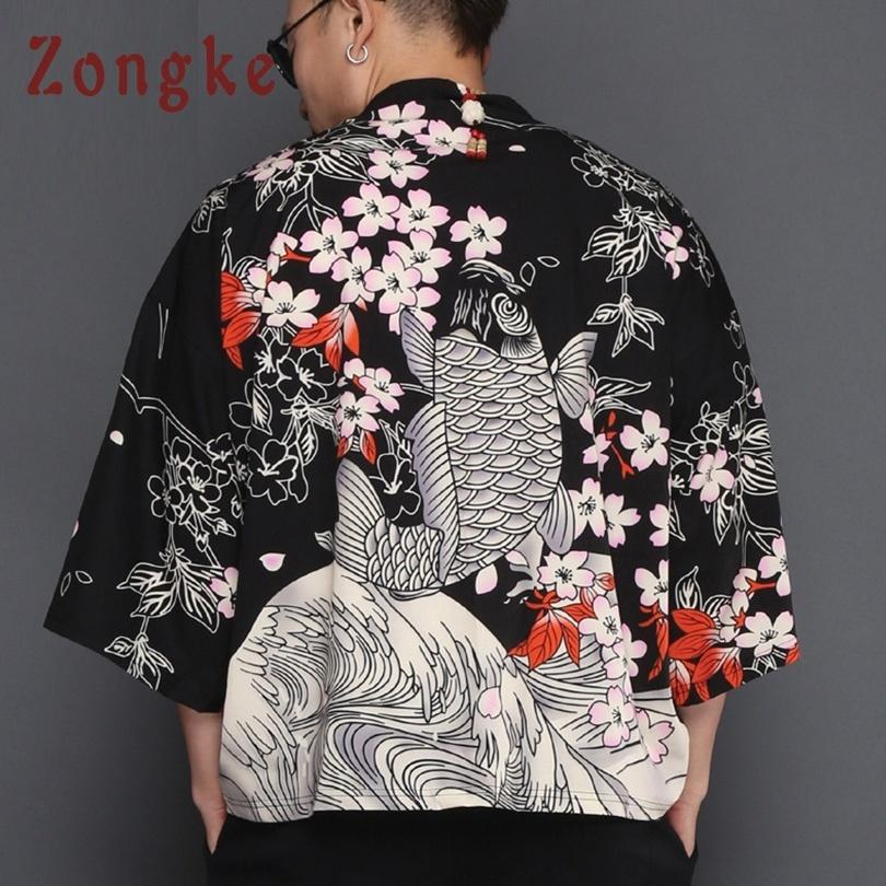 Zongke Japanese Carp Print Long Men Loose Black Mens Kimono Cardigan Jacket 2018 Summer C19041901