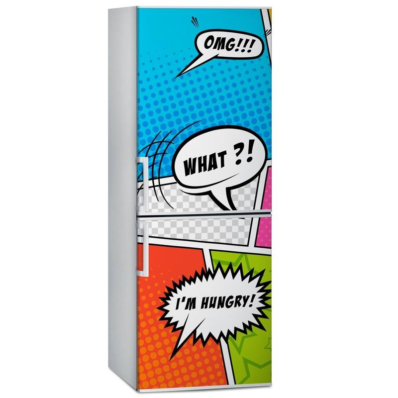 Fridge Wrap /Dishwasher Sticker/Cartoon Dialogue/Removable Self Adhesive Vinyl /Peel and Stick Decal Wallpaper