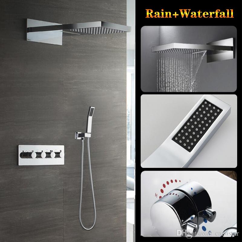 22 inch stainless steel polish shower head, In-wall shower set, rain and waterfall faucet mixer set