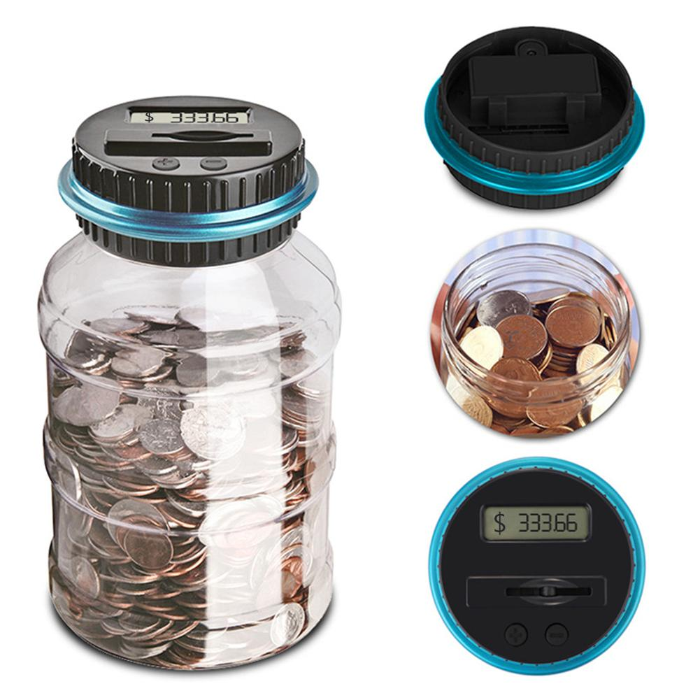 PPYY NEW -Electronic Digital Coin Counter Automatic Money Counting Jar Saving Piggy Bank