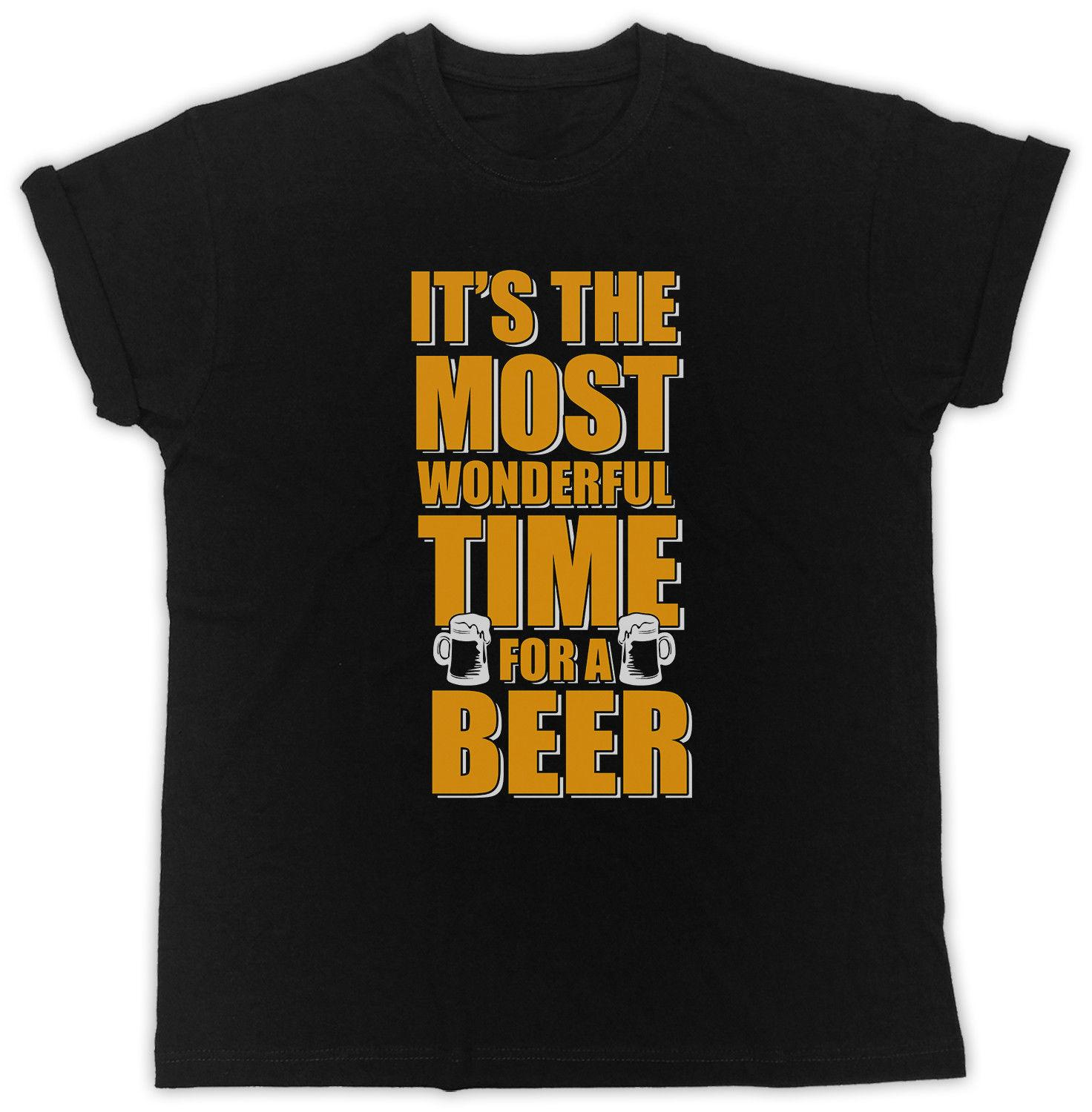 0d0d63d61 IT'S THE MOST WONDERFUL TIME FOR A BEER SLOGAN IDEAL GIFT UNISEX BLACK T  SHIRTFunny Unisex Casual Tshirt Shirts T Funky T Shirts For Women From ...