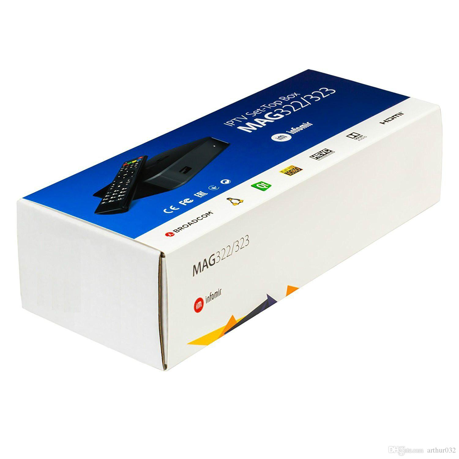 MAG322 2019 Ultimi Linux 3.3 OS Set Top Box MAG 322 con built-in WiFi WLAN HEVC H.265 IPTV Box Smart TV Media Player