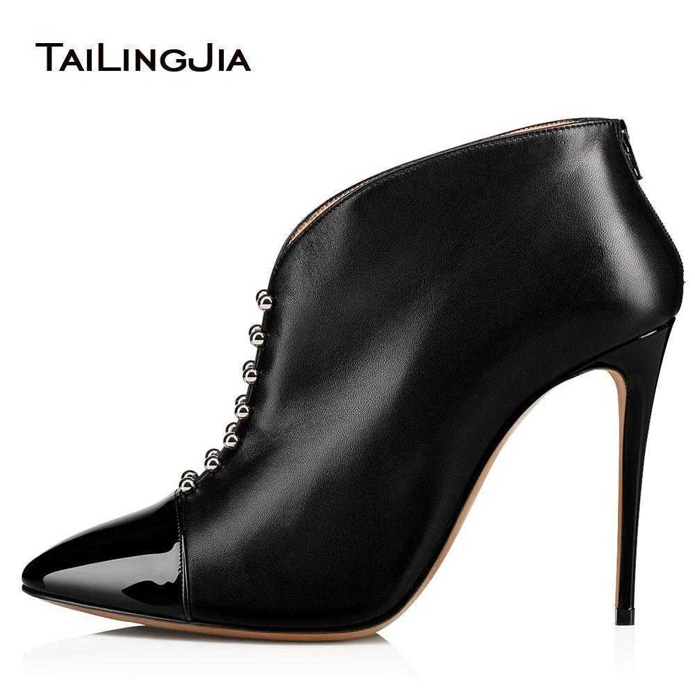 eb7a59da09f Pointed Toe High Heel Studs Ankle Boots Women Black Heeled Studded Short  Booties Lady Spring Autumn Heels Shoes Large Size 2018 Cheap Cowgirl Boots  Mens ...