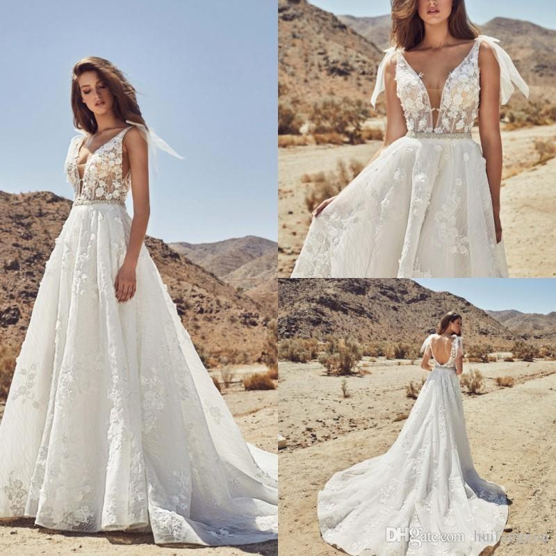 9e14ef4e49e Discount Newest Plus Size Wedding Dresses V Neck Lace 3D Floral Appliques  Beaded Bridal Gowns Calla Blanche 2019 Sexy Backless Wedding Dress Wedding  Dresses ...