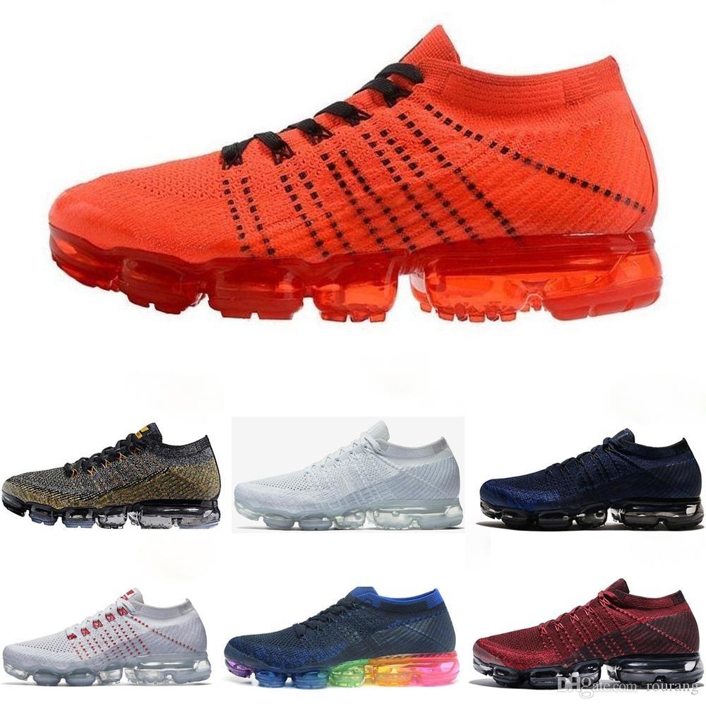 separation shoes 3ad9a 17baa Compre Nike Air Max Airmax Vapormax Flyknit 2.0 Mosca Malha Almofada Tênis  Para Mulheres Dos Homens Moc 2.0 Trovão Cinza Laranja Roxo Homens Tricô  Designer ...