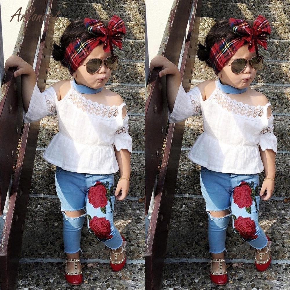 0bcc37eaf Compre Arloneet Toddler Kids Girls Lace Tops Flor Denim Pantalones ...