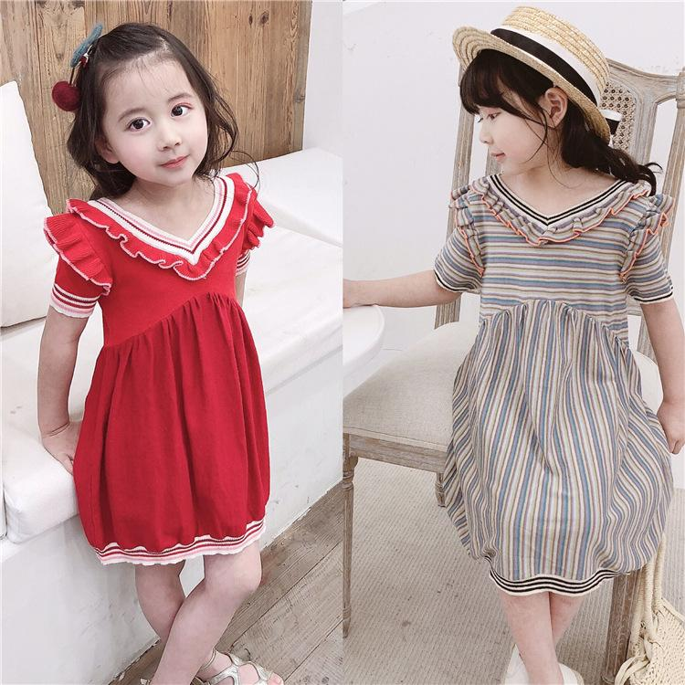 aa12329db9489 2019 Summer Girl Dress 2019 New Design Baby Girls Clothes Two Color V Neck  Knit Dress Casual Short Sleeve Kids Cute Dresses From Luckyno, $41.25 |  DHgate.