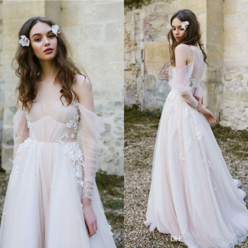 Cheap Wedding Gowns Uk: Discount Bohemian Style Spring Wedding Dresses A Line 2019