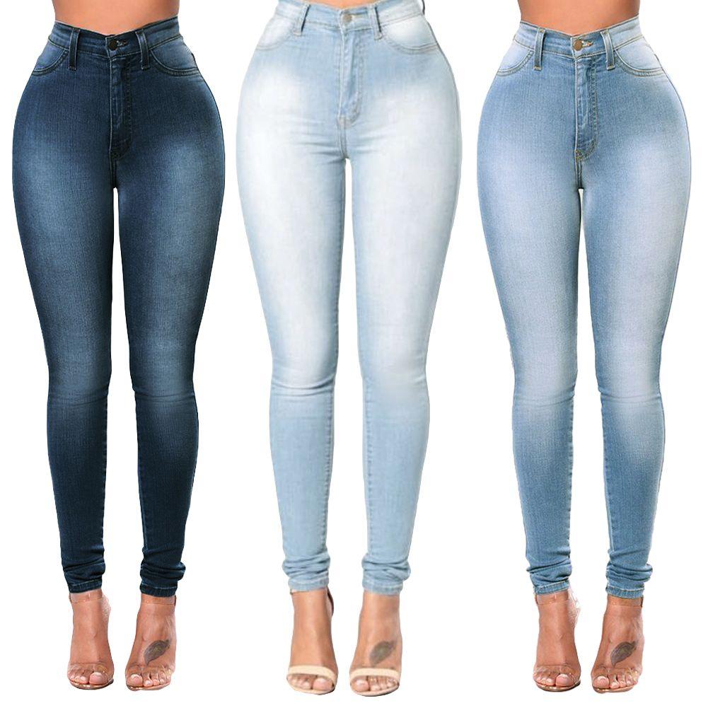 1c32d1e4b1 Compre 2018 Sexy Girls Plus Size Pants XXXL Mujer Skinny Denim Jeans Clásico  De Cintura Alta Washed Slim Pantalones Medias Lápiz Pantalones Mujer A   22.36 ...