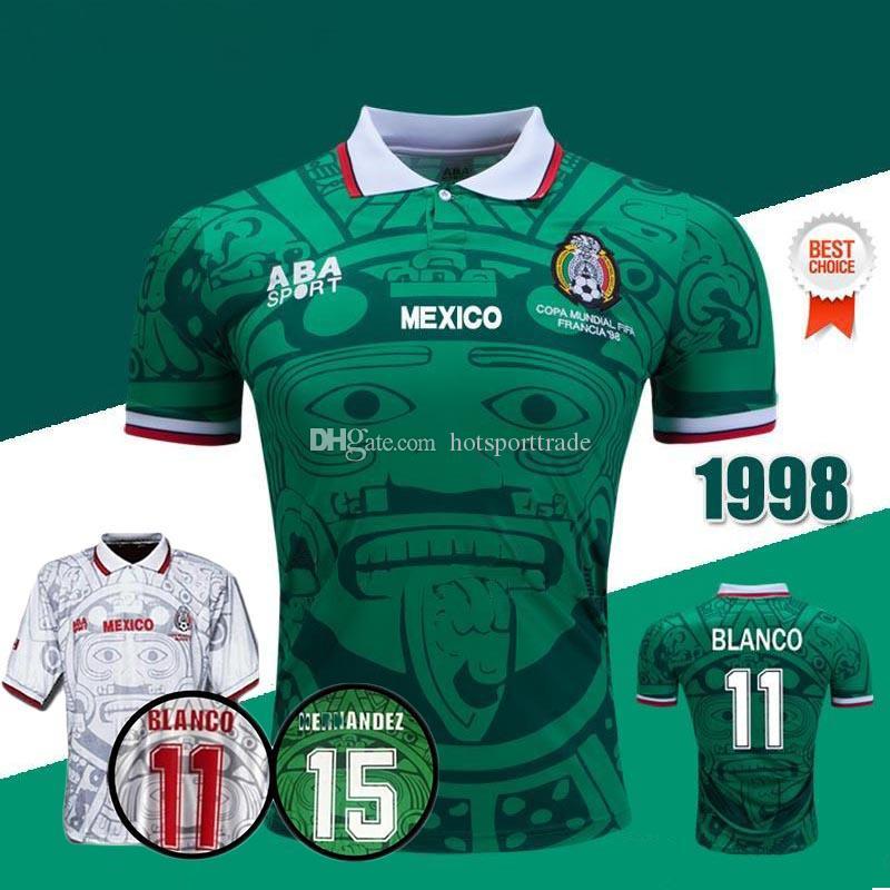 aa0755fa9ad71 Tailandia Calidad Retro 1998 Copa Del Mundo De México Camisetas De Fútbol  Clásicas Clásicas HERNANDEZ 11   BLANCO Home Green Away Camisetas De Fútbol  ...
