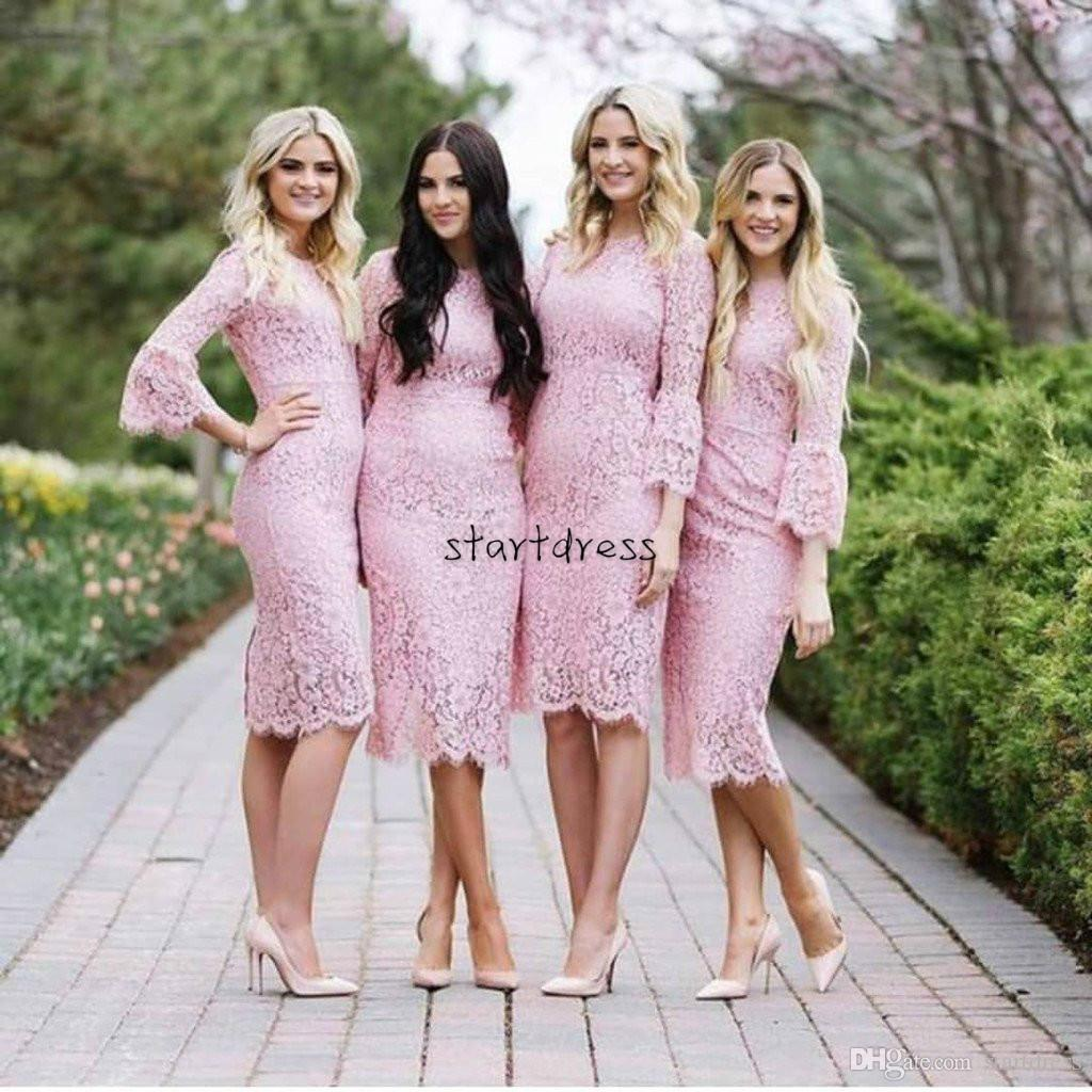 Modest Rose Pink Country Bridesmaid Dresses Boho Lace Round Neck Long Sleeve  Knee Length Short Formal Prom Dress 2018 Maid Of Honor Cheap Bridesmaid  Dresses ... bc6ff088e61f
