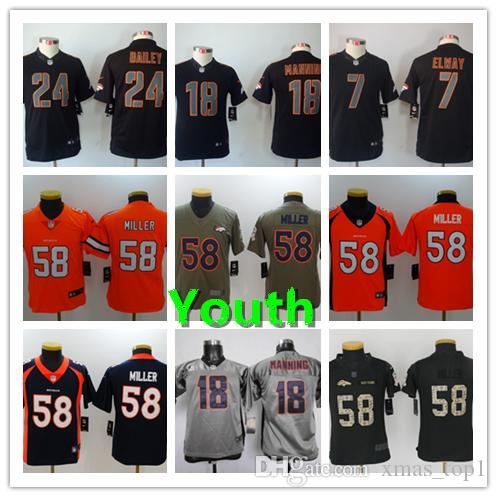 the latest 262a0 2f306 2019 New Youth 58 Von Miller Denver Broncos Kids Jersey 100% Stitched  Embroidery Broncos 18 Peyton Manning 7 John Elway Boys Football Jersey