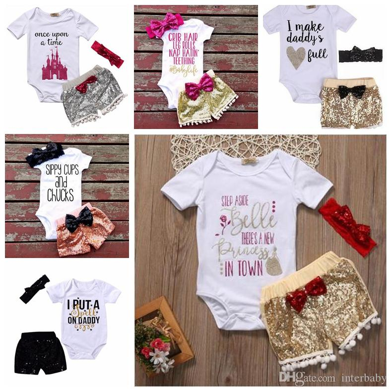 Baby Girls Rompers Suit Kids INS Sequin Shorts Bowknot Headband Sets Fashion Child Letter Print T-shirt Boutique Shorts Hair Band YFA934