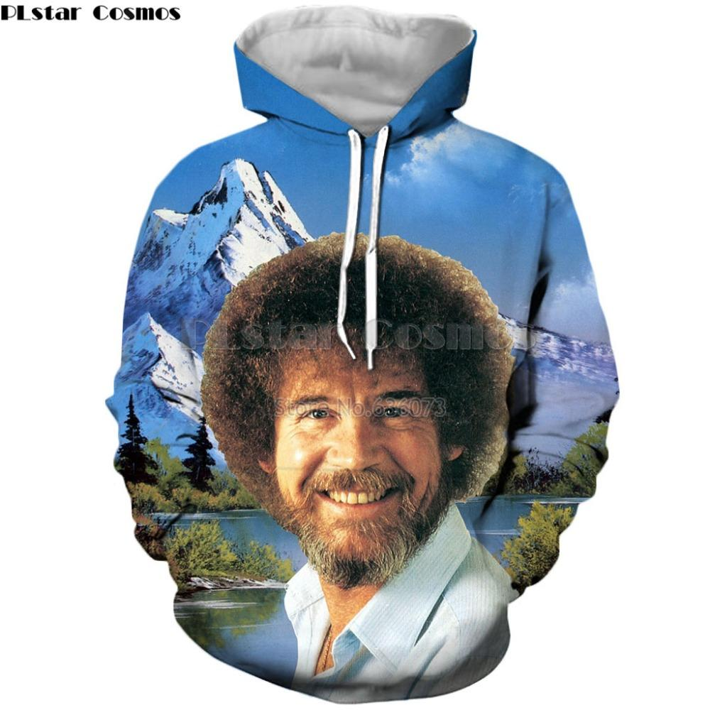 PLstar Cosmos Drop shipping 2019 Fashion Men/Women hoodies painter Bob Ross Celebrity Print 3d Unisex Casual Hooded Sweatshirt