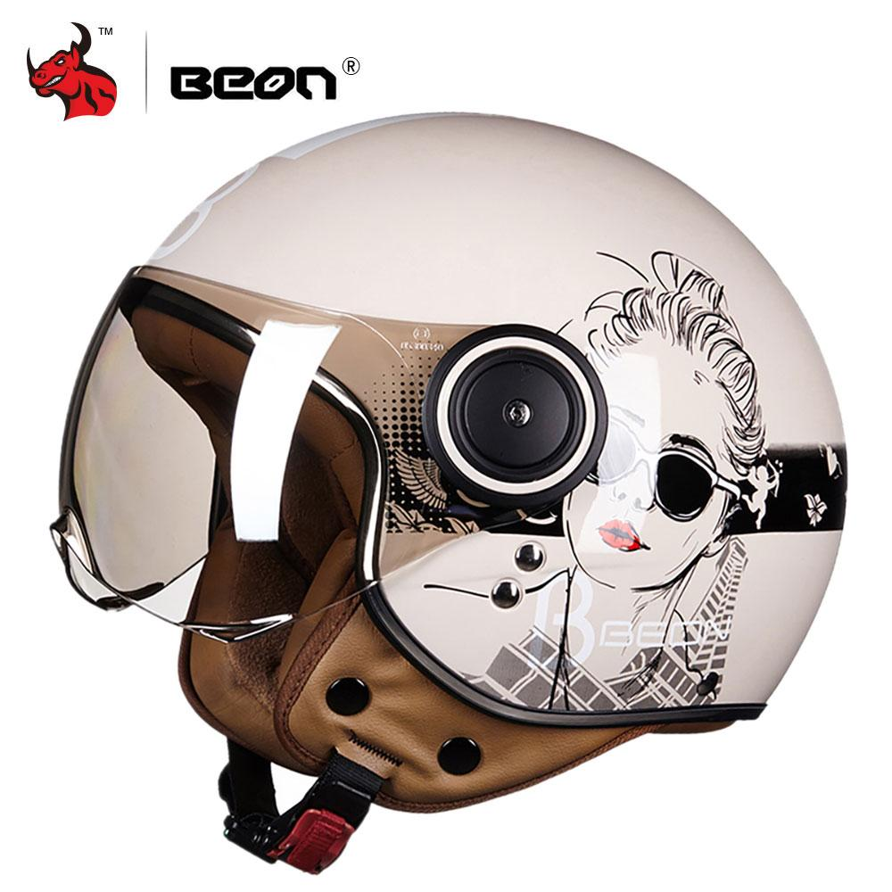 Motorcycle Helmet Brands >> Beon Motorcycle Helmet Chopper 3 4 Open Face Vintage Moto Helmet Moto Casque Casco Capacete Men Women Scooter Motorbike