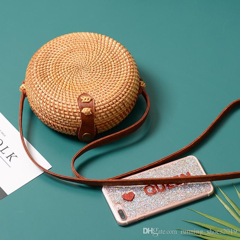 173dc537ef38 Vtg Woven Straw Circle Purse Small Bag Strap Zip Adorable circle