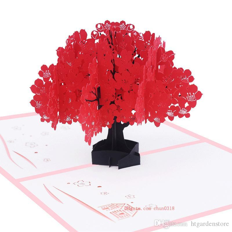 Kapok 3D Pop Up Greeting Cards With Envelope Laser Cut Post Card For Birthday Christmas Valentine Day Party Wedding Decoration