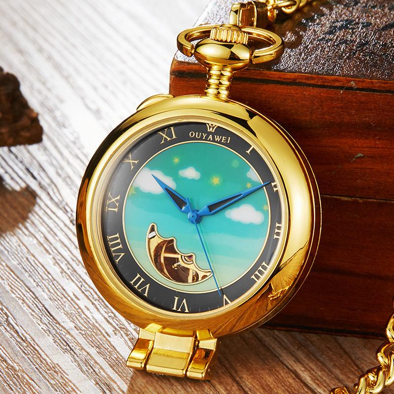 Luxury Gold Silver Retro Mechanical Pocket Watch Men Women Pendant With FOB Chain Hollow Moon Steampunk Hand-wind Pocket Watches