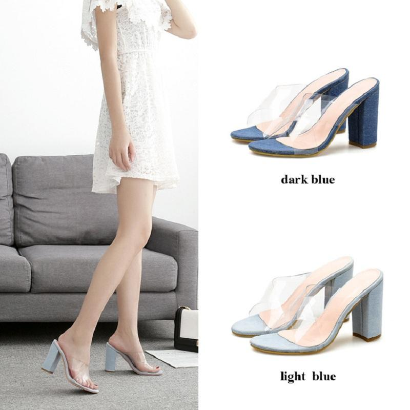 New transparent jelly shoes women summer block high heels denim sandals slippers sexy clear cross strappy open toe ladies slides