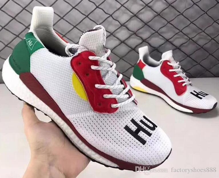 best sneakers 2216a cb134 2019 Human Race Shoes Pharrell Williams Running Shoes Hu trail NERD Afro  For Men Womens White Canvas Black Nerd