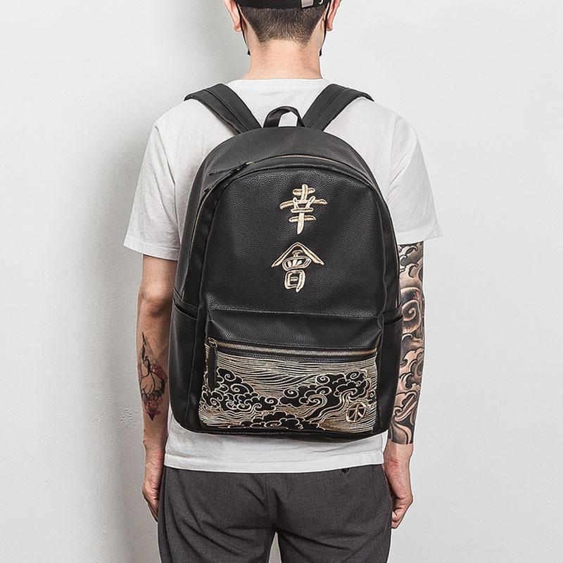 Men Pu Bag Hip Hop Travel Bag Nice to meet you kanji embroidery