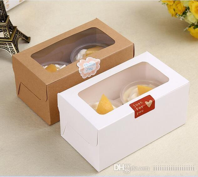 kraft Card Paper Cupcake Box 2 Cup Cake Holders Muffin Cake Boxes Dessert Portable Package Box Tray Party Gift Favor