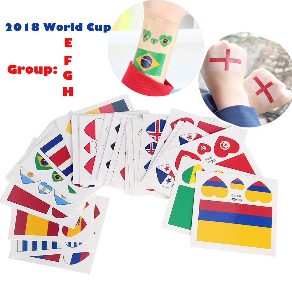 10Pcs 2018 Russia World Cup 32 States National Flag Stickers 6*6cm Waterproof Temporary Tattoo Sticker Body Face Paint