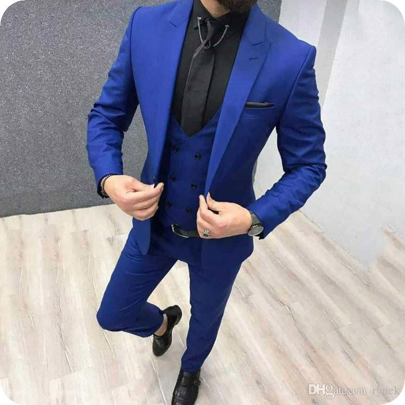 Royal Blue Men Suits for Wedding Formal Business Man Suits Groom Tuxedo 3Piece Slim Fit Groomsmen Blazers Gentle Costume Homme Ternos
