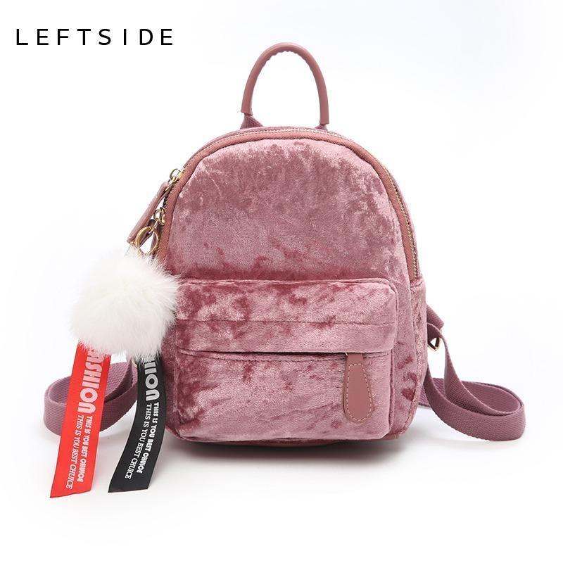 4299b5f772 Leftside Mini Velvet Backpack Bag Female Cute Backpacks High Quality ...