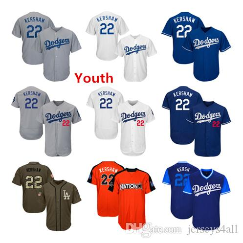 official photos ed90f 50de5 Youth Kids Child Los Angeles Dodgers Baseball Jerseys 22 Clayton Kershaw  Jersey White Blue Gray Grey Green Salute Players Weekend
