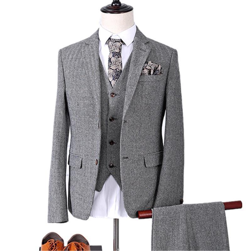 Compre Conjuntos De 3 Piezas Blazers Chaqueta Pantalones Trajes De Chaleco    Moda Casual Para Hombres Boutique De Negocios Casual Traje De Lana Abrigo  ... 7ad1a862b9b