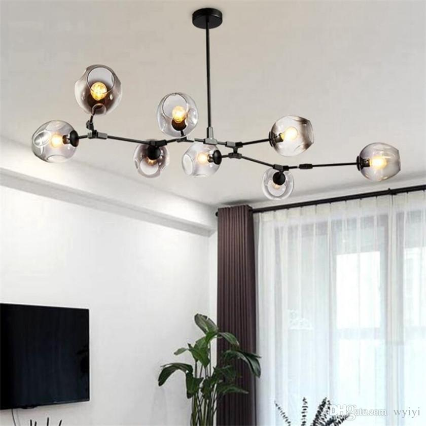 Gold/black Magic Bean Led Pendant Lights For Dinning Vintage Loft Industrial Glass Ball Hanging Light Retro Glass Pendant Lamp Chandeliers Ceiling Lights & Fans