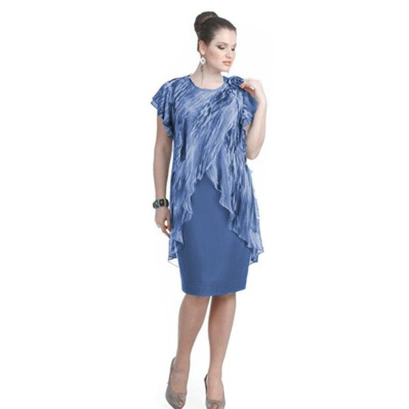 dc23f4756 Vestido de señora de oficina de verano para mujer Vestido de gasa falso de  dos piezas Diseño Longitud de la rodilla Elegante Vestido de talla grande