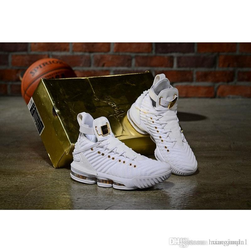 6c71706dc69b Cheap Mens Lebron 16 XVI Basketball Shoes for Sale HFR Christmas Oreo Black  White Gold Red Women Kids Boys Boots Sneakers with Size 7-12