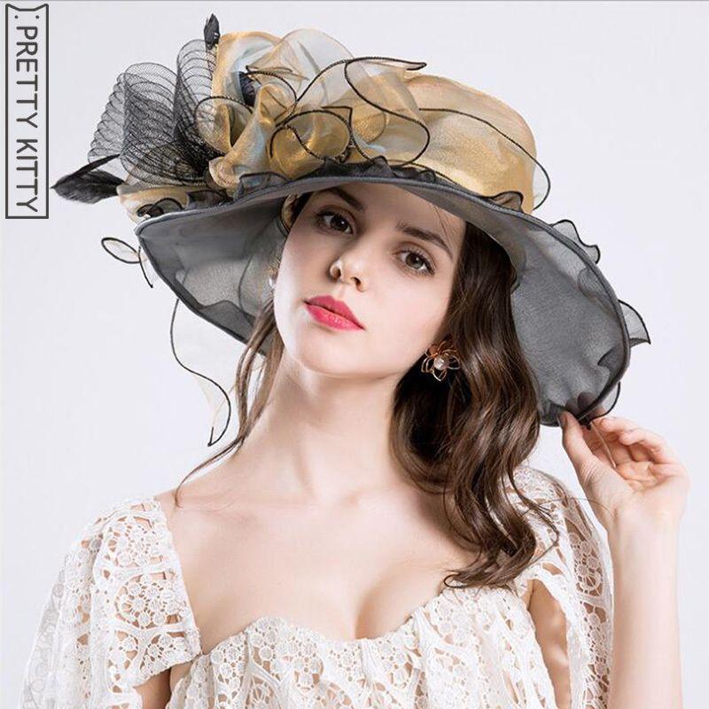 4d68434fa142c PRETTY KITTY 2018 Women Vintage Organza Sun Hat Floral Ruffles Summer Beach  Hat Wide Large Brim Tea Party Wedding Sun Hat Cap D19011103 Black Floppy Hat  ...