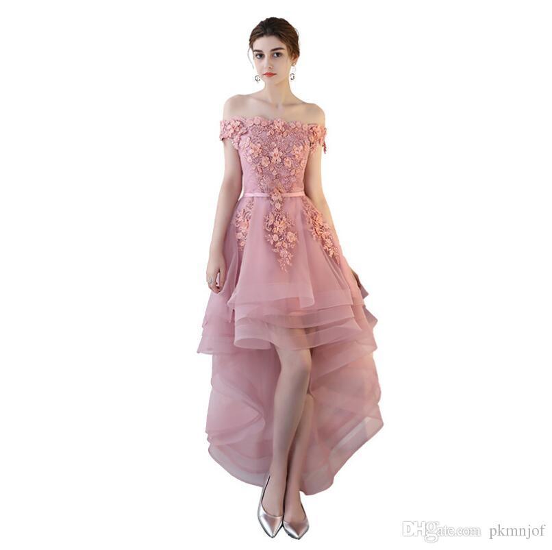 bcbbbf283 Compre Vestidos De Fiesta Elegantes Y Modernos De A Line Bateau Con  Apliques Bateau Hi Lo Lace Up Vestidos De Baile A  79.4 Del Pkmnjof