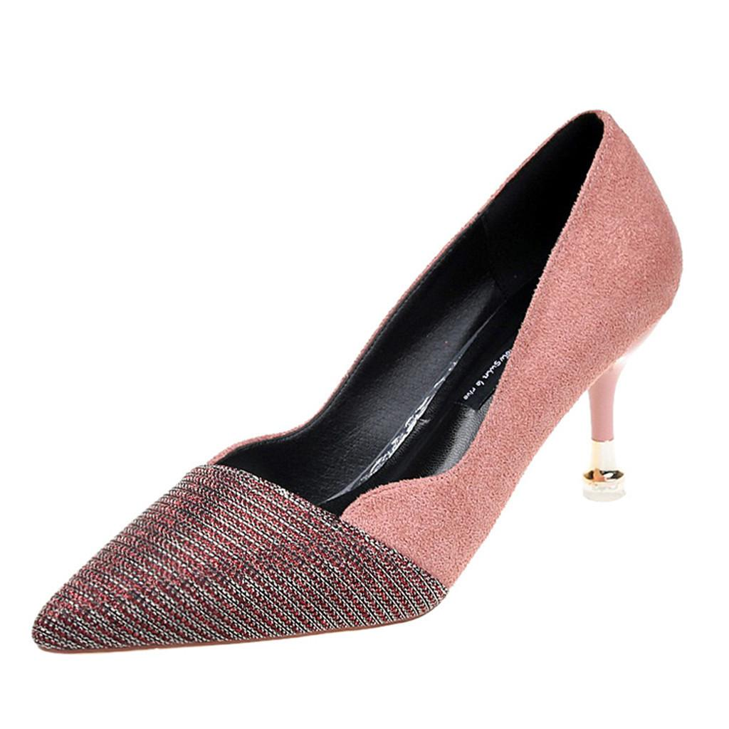 e84b259a4b7 Dress Shoes Women s Sandals Fashion Pointed Toe Wild High Heel Single  Casual Wild Ladies Sequins Stiletto Woman Zapatos De Mujer